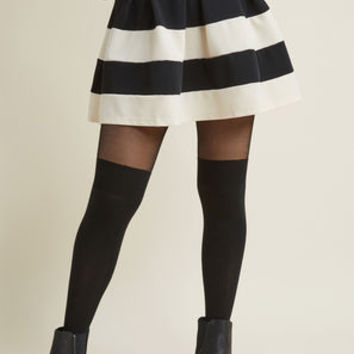 Stripe It Lucky Skater Skirt in Black & Ivory