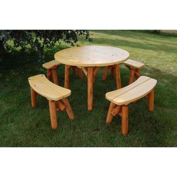 """Moon Valley Rustic Cedar 46"""" Round Table Set - 4 Benches Included"""