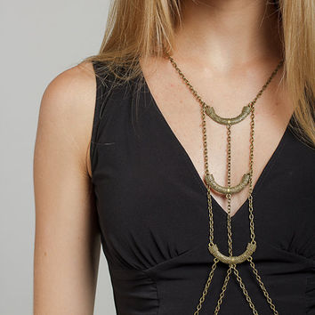 Brass boho body chain, handmade body chain, body jewelry