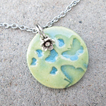 Summer Necklace, Butterfly Necklace, Turquoise Butterfly Jewelry, Butterfly Pendant Necklace, Butterfly and Flower Necklace, Pottery Jewelry