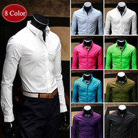 Solid Color Slim Fit Fashion Dress Shirt