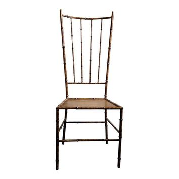 Pre-owned Faux Bamboo Tortoise Shell Metal Chair