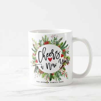Cheers to a New Year Script Holly Wreath Greeting Coffee Mug