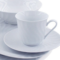 Imperial White Teacups Case of 24 Inexpensive Porcelain Tea Cups and Saucers