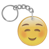 White Smiling Face Emoji Acrylic Key Chain