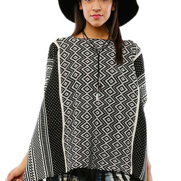 Women's Black and Beige Multi-print Stripe Batwing Fringe Poncho - Ruana Native Print Agora