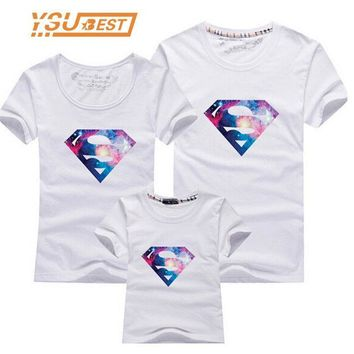 CREYON5U 2017 New Family Look Superman T Shirts 13 Colors Summer Family Matching Clothes Mom & Dad & Son & Daughter Cartoon Outfits