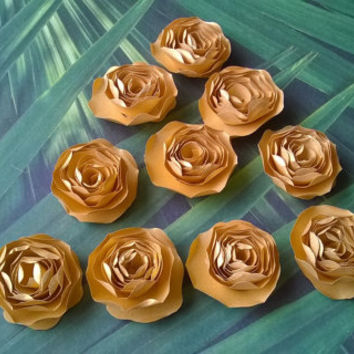 metallic gold dahlia paper flowers Roses Loose table decoration wedding Bridal Shower Decor home decor Baby nursery party decoration