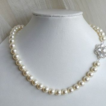 Bridal Necklace Swarovski Ivory Round Pearl Cubic Zirconia CZ Sterling Silver Brooch Arwen N1 Wedding Jewelry