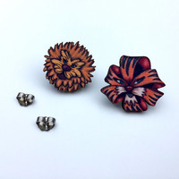 Dandelion and Tiger Lily Flowers - Alice in Wonderland - Laser Cut Wood Stud Earrings