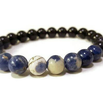 Starry Night bracelet, Sodalite bracelet, Ombre Bracelet Blue & Black, Obsidian, Goldstone, Lapis, Dark Soul, Midnight Soul, Men's bracelet