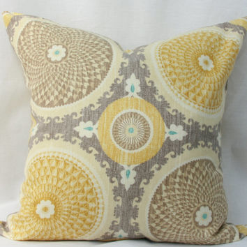 "yellow/gold pillow cover. Waverly Bohemian swirl pumice decorative throw pillow cover. 18"" x 18"" pillow."