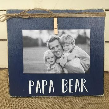 Father's Day Gift | PAPA BEAR Rustic Picture Frame | Personalized Picture Frame | FREE shipping