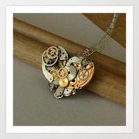 Steampunk Heart of Gold and Silver Art Print by Brown Eyed Lady