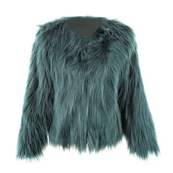 Floating Hair Jacket Fur Coat Women Lady Fur Overcoat Imitation Fur Faux Fox Jackets Hairy Party Fur Warm Coat