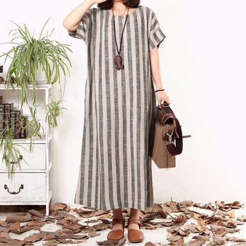 Women Striped Dress 2016 Summer Vintage Maxi Long Dress Ladies Casual Loose Short Sleeve Dresses Plus Size Vestidos Top Fashion
