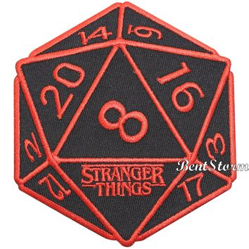 Licensed cool Licensed Netflix Stranger Things 20 sided die dice design IRON ON Patch Badge