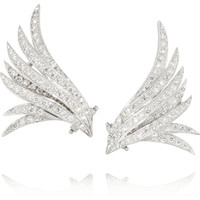Ana Khouri | Wing 18-karat white gold diamond earrings | NET-A-PORTER.COM
