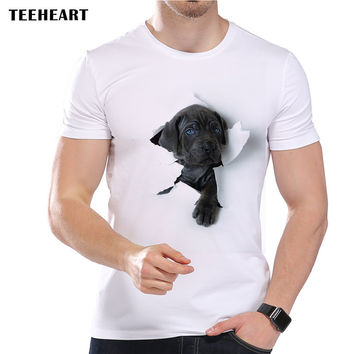Summer  Super Cute Dog Design T Shirt Men's Funny Animal Graphics Printed Tops Hipster Tees
