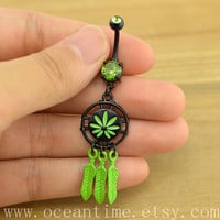 Dream catcher Belly Button Rings,green belly ring,turquoise belly button ring,feather navel ring,friendship jewelry