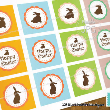 Easter Rabbit Bunny Circle Printable birthday label sticker photo collage clipart pattern invitation baby scrapbooking prop custom white boy