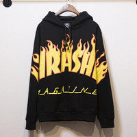 Hedging Hooded Sweater men and women with velvet round neck thrasher sweater black