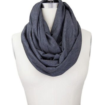 CHARCOAL GRAY JERSEY infinity scarf, doubled jersey fabric, gray infinity, gray scarf