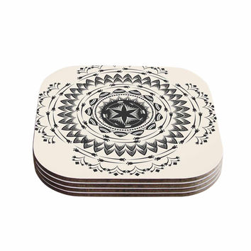 "Famenxt ""Boho Tribe Mandala"" Beige Black Coasters (Set of 4)"