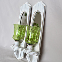 Shabby Chic White Wood Wall Sconces with Mirrors and Vintage Green Glass Votive Candle Holder Inserts