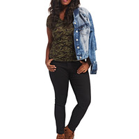 Camo Print V-Neck Tee | Wet Seal+