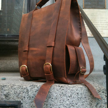 Leather travel backpack/ custom backpack/ Thick brown leather / Luscious Leathers NYC on Etsy Custom leather goods