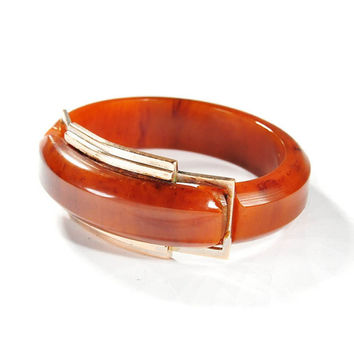 Vintage Art Deco Bakelite Bracelet Bangle Carved Gold Buckle Antique 1930s Art Deco Jewelry