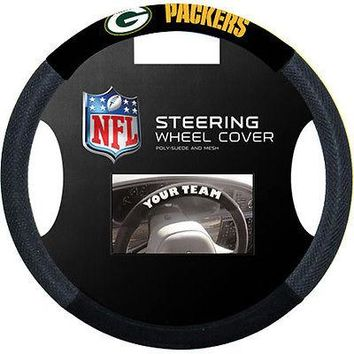 GREEN BAY PACKERS BLACK MESH CAR AUTO STEERING WHEEL COVER NEW  SHIPPING