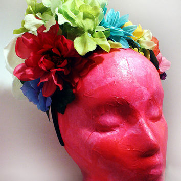 Frida Kahlo Flower Crown Day of the Dead Floral Spring Flowers Headband Mexican Wedding Headpiece