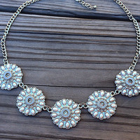 Bullet jewelry. Pearl and bullet casing statement necklace