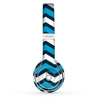 The Blue Wide Chevron Pattern Skin Set for the Beats by Dre Solo 2 Wireless Headphones
