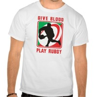 Rugby player passing ball front give blood play tshirt