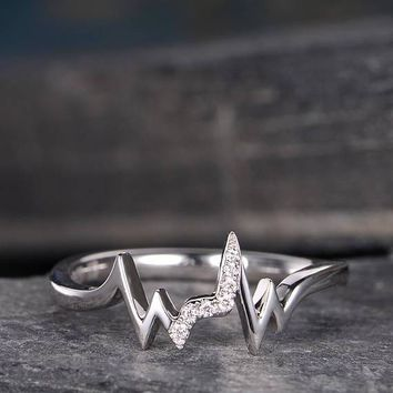 Unique Diamond Promise Ring Lightning Line Wave Wedding Ring Delicate Dainty Curved