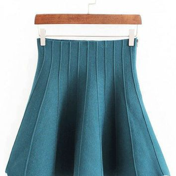 High Waisted Elastic Waist Mini Skirt