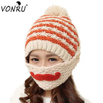 2016 Novelty Winter Striped Knit Ski Face Mask hats Beanies Thicken Crochet Beard Unisex Balaclava Bonnets Hat for Women Men