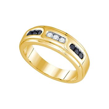 10k Yellow Gold Black Colored Diamond Channel-set Mens Wedding Anniversary Band Ring 1/3 Cttw