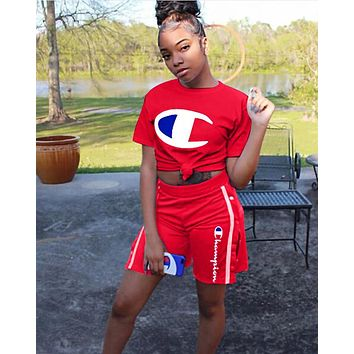 Champion Popular Women Print Short Sleeve Round Collar Top Shorts Set Two Piece Red