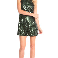 EMERALD SEQUIN PARTY DRESS