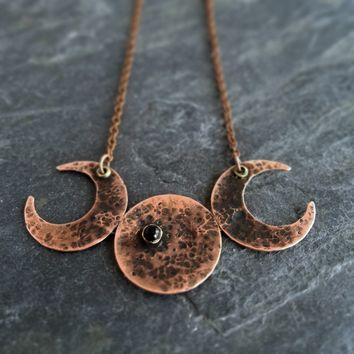 Lunar Phases Moon Necklace in Copper with Black Onyx