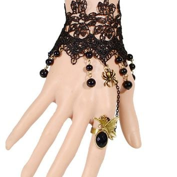 Streetstyle  Casual Gothic Lace Spider Bracelet With Ring