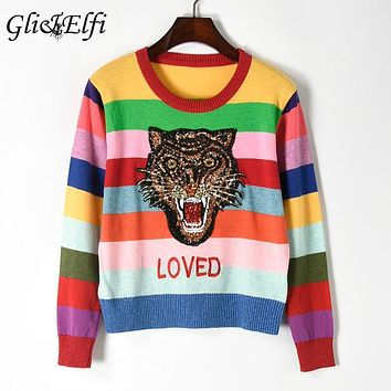 Sweater Women 2017 Autumn Winter Pull Femme Strass Pullover Sequin Tiger Rainbow Striped Cropped Tops Loved Embroiderid Knitwear