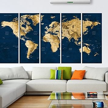 Vintage world map wall art, Push Pin old world Map wall art canvas print multi panel 5 pieces for dining room wall decal, large abstract art world map with country names hr116