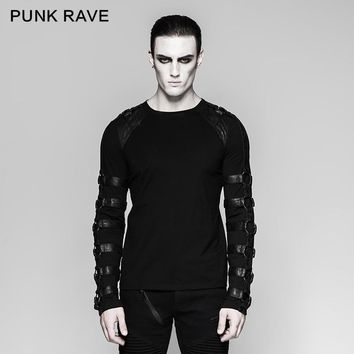 Punk Rave Rock Goth O-Neck Personality Men's Steampunk Iron Man Motocycle Casual street T-Shirt Top T457