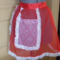FREE SHIPPING - Red Satin Apron/Vintage Red Apron/Lace Apron/Waist Apron/Apron with Pocket