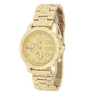 Gold Geneva Watch Metal Case Mens Boyfriend Designer Fashion
